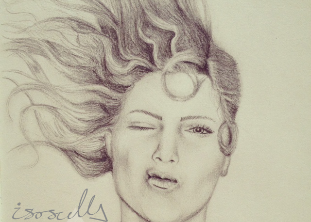 Art pencil sketch drawing lady pout hair