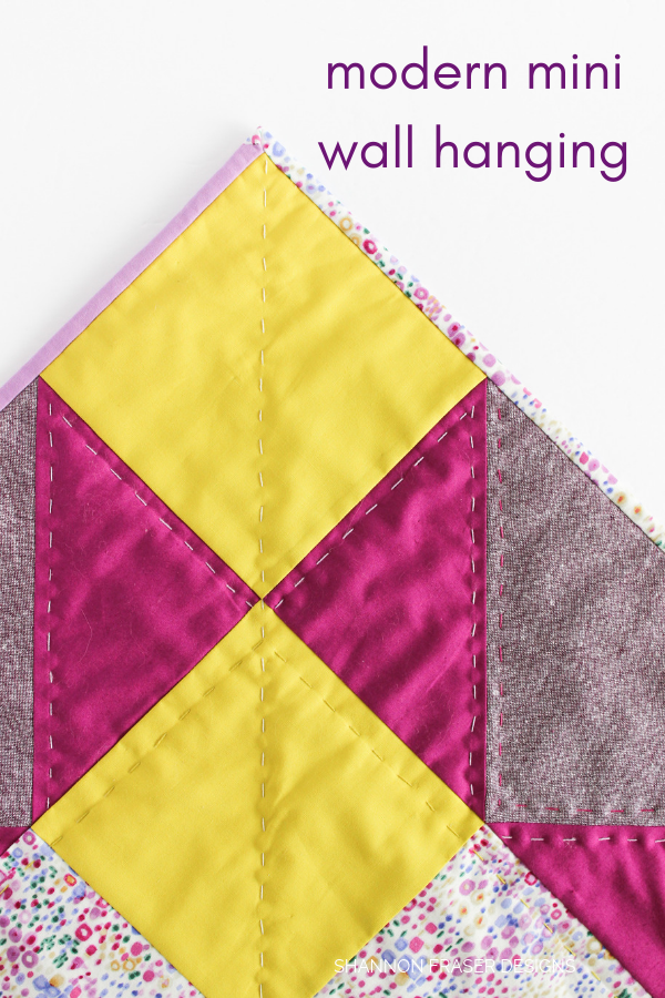 Modern Mini Quilted Wall Hanging | Quilt Big Blog Hop | Shannon Fraser Designs