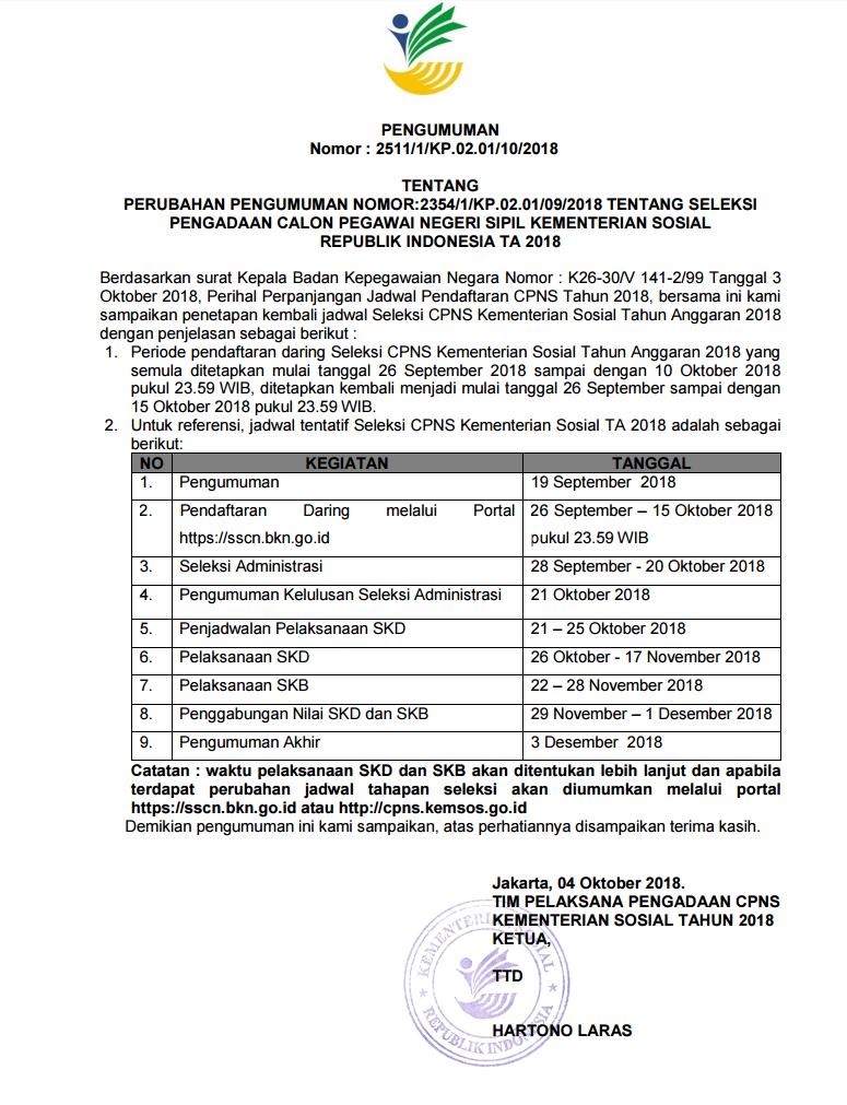 Lowongan Kerja  Perubahan Jadwal Terbaru Seleksi CPNS Kementerian Sosial  Anggaran   Oktober 2018