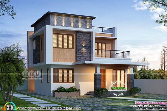 1795 sq-ft beautiful 4 bedroom flat roof home plan