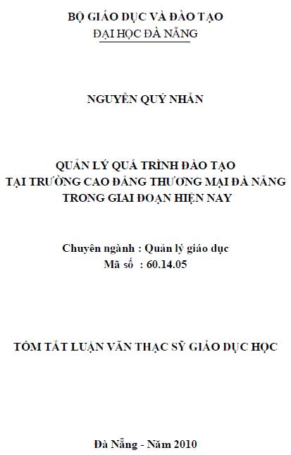 Quản lý quá trình đào tạo tại trường cao đẳng thương mại Đà Nẵng trong giai đoạn hiện nay