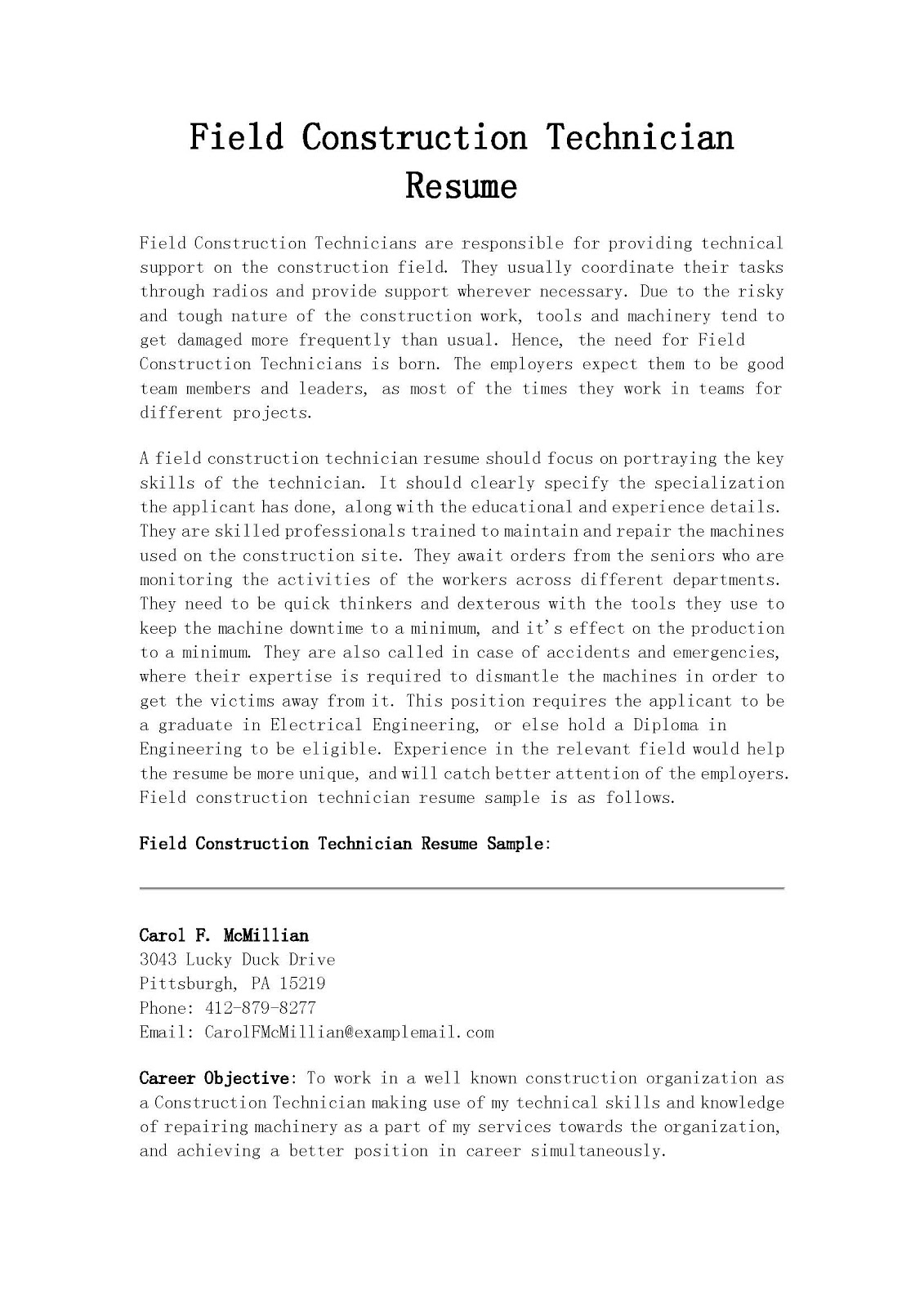 resume samples  field construction technician resume