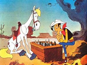 Un cheval intelligent de bande dessinée créé par Morris sait forcément jouer aux échecs - Photo © Chess & Strategy