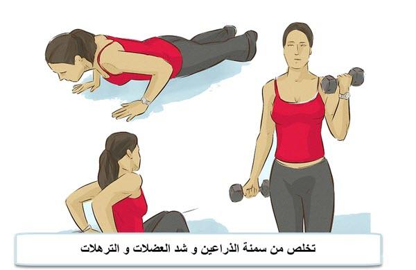 تخلص من سمنة الذراعين و شد العضلات و الترهلات