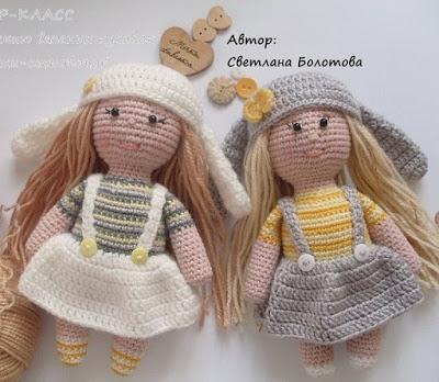 Куклы амигуруми малышки-сестрички