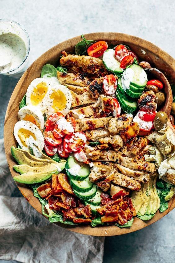Paleo Grilled Chicken Caesar Cobb Salad