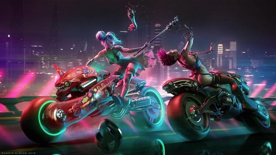 Cyberpunk, Girls, Motorcycle, Race, Battle, 4K, #4.1064