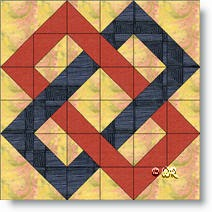 'Double Links' quilt block image © W. Russell, patchworksquare.com