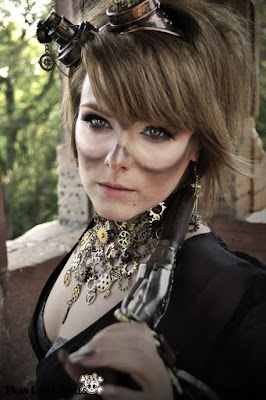 Steampunk and dieselpunk makeup and beauty. DIY tutorial on how to create dirty soot marks around your goggles. for men and women, unisex makeup fx.