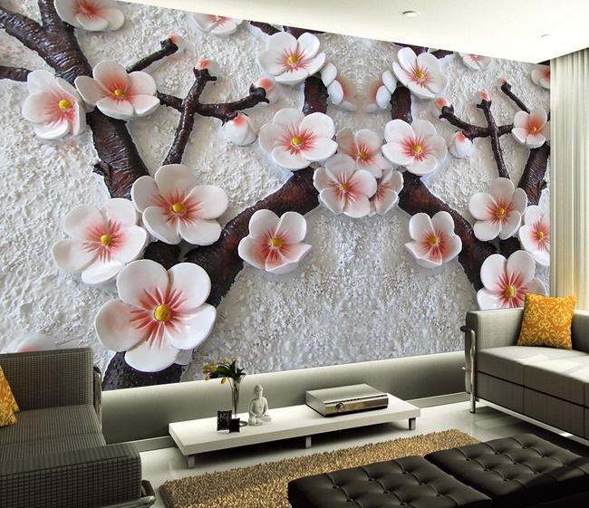 Tranh dán tường 3d hoa đồng tiền