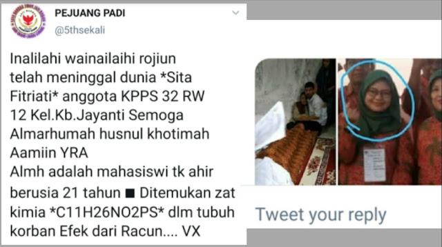 Viral Hoaks Petugas KPPS Bandung Tewas Diracun, Keluarga Lapor Polisi