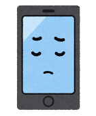 スマートフォンのキャラクター(考えている顔)