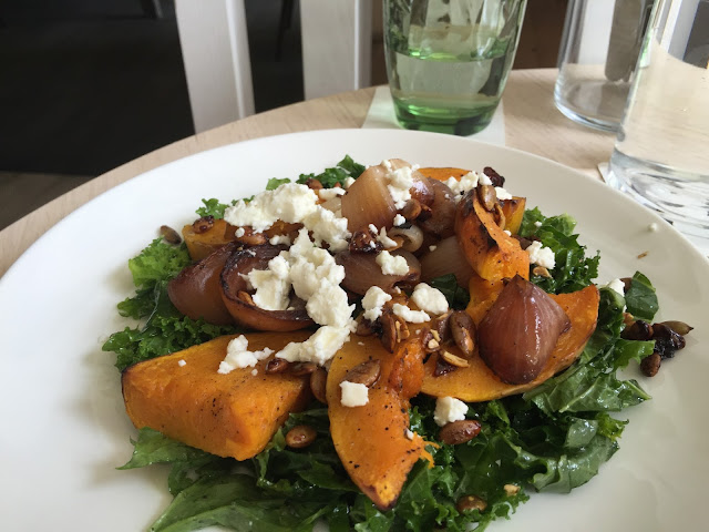 what to eat in singapore - Roast Pumpkin with Kale, Marinated Goat Cheese, Onion & Seeds