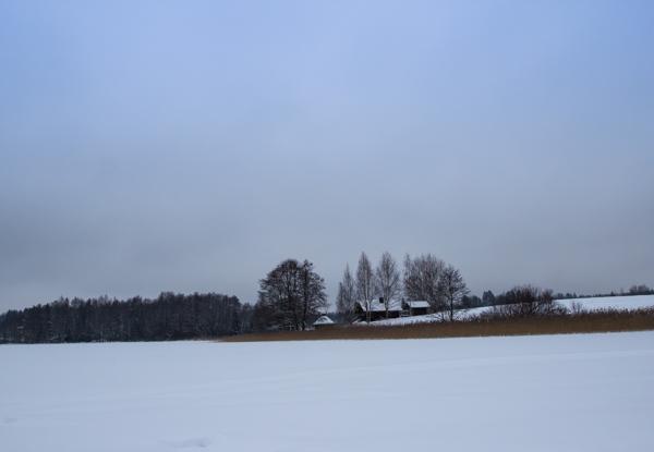 talvimaisema järvellä suomen luonto mökki rannalla