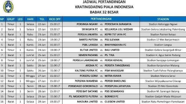 Jadwal Lengkap Babak 32 Besar Piala Indonesia 2018