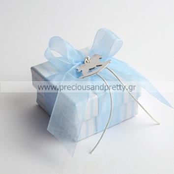 Greek baptism favors for boy blue boxes B32