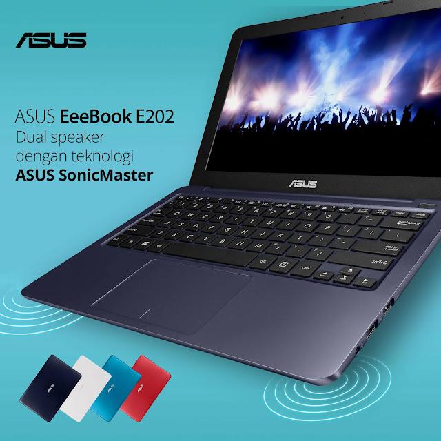 ASUS E202 menggunakan teknologi ASUS SonicMaster