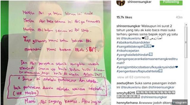 Masya Allah! Surat Cinta Teuku Wisnu Untuk Shireen Sungkar Bikin Netizen Terharu