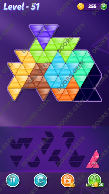Block! Triangle Puzzle 8 Mania Level 51 Solution, Cheats, Walkthrough for Android, iPhone, iPad and iPod