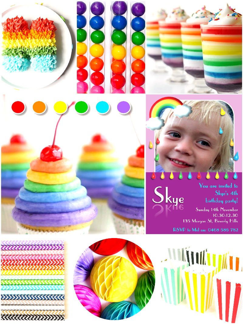 April Showers Rainbow Party Ideas - via BirdsParty.com