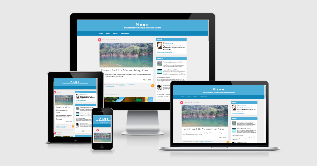 Neue Material Design - Responsive Simple Blogger Template