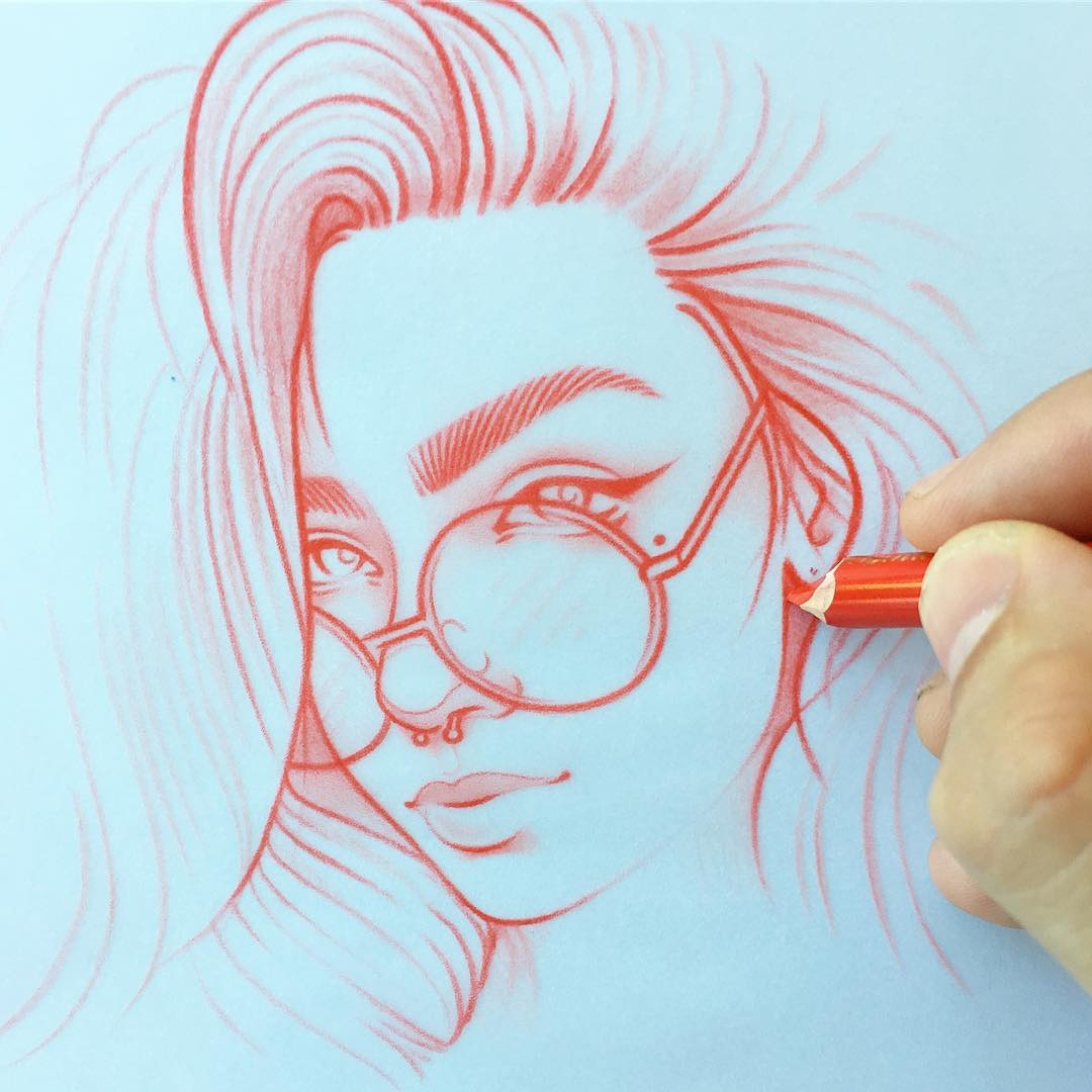 09-Glasses-Rik-Lee-Blue-Red-and-Black-Line-Portrait-Sketches-www-designstack-co