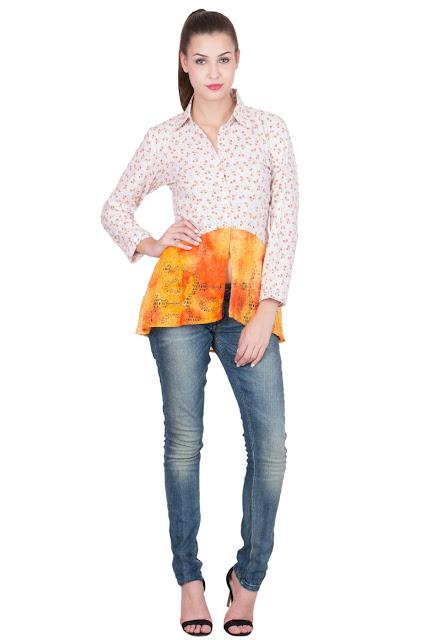 White floral and orange embellished shirt