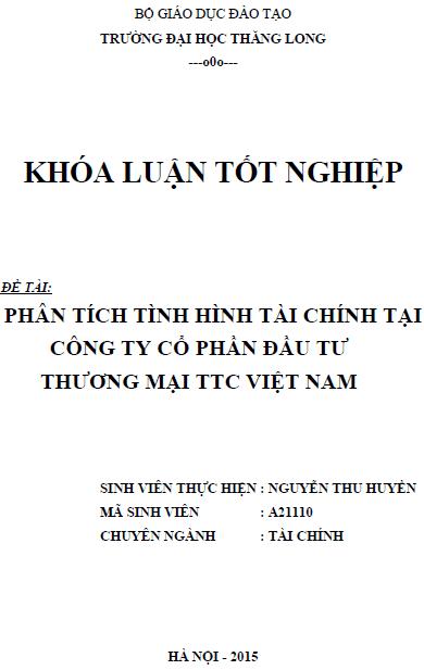 Phân tích tình hình tài chính tại Công ty Cổ phần Đầu tư Thương mại TTC Việt Nam