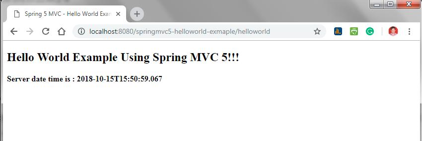 Spring MVC 5 - Hello World Example