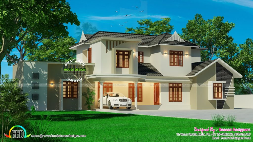 Beautiful Sloped Roof Residence Kerala Home Design And Floor Plans  Beautiful Home Designs Inside Outside Beautiful Home Design In India