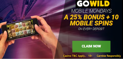 Go Wild Casino Mobile Mondays offer