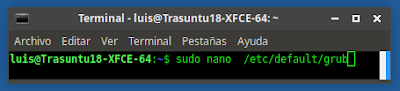 sudo nano  /etc/default/grub