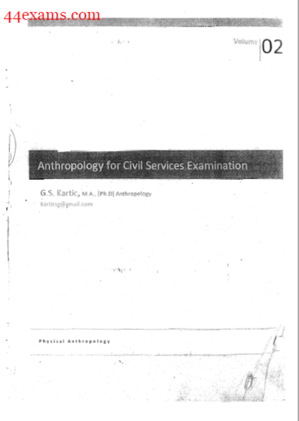 Physical Anthropology By G.S. Kartic : For Civil Services Examination PDF Book