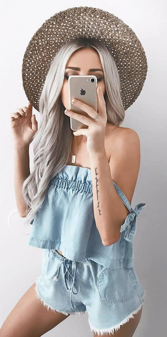 trendy denim set + hat