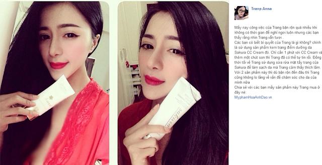 Hot girl Trang Anna rất hài lòng khi mua Mỹ Phẩm Hoa Anh Đào