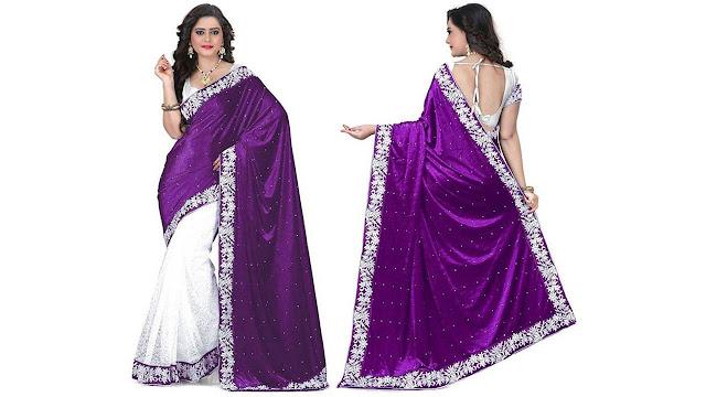 Prabhas Embellished Fashion Net, Velvet Saree  (Purple, White)