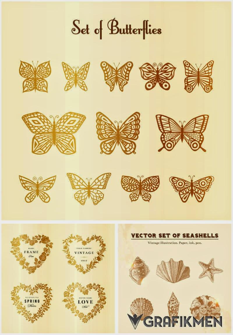 Ücretsiz Altın renkte kelebek vektörleri