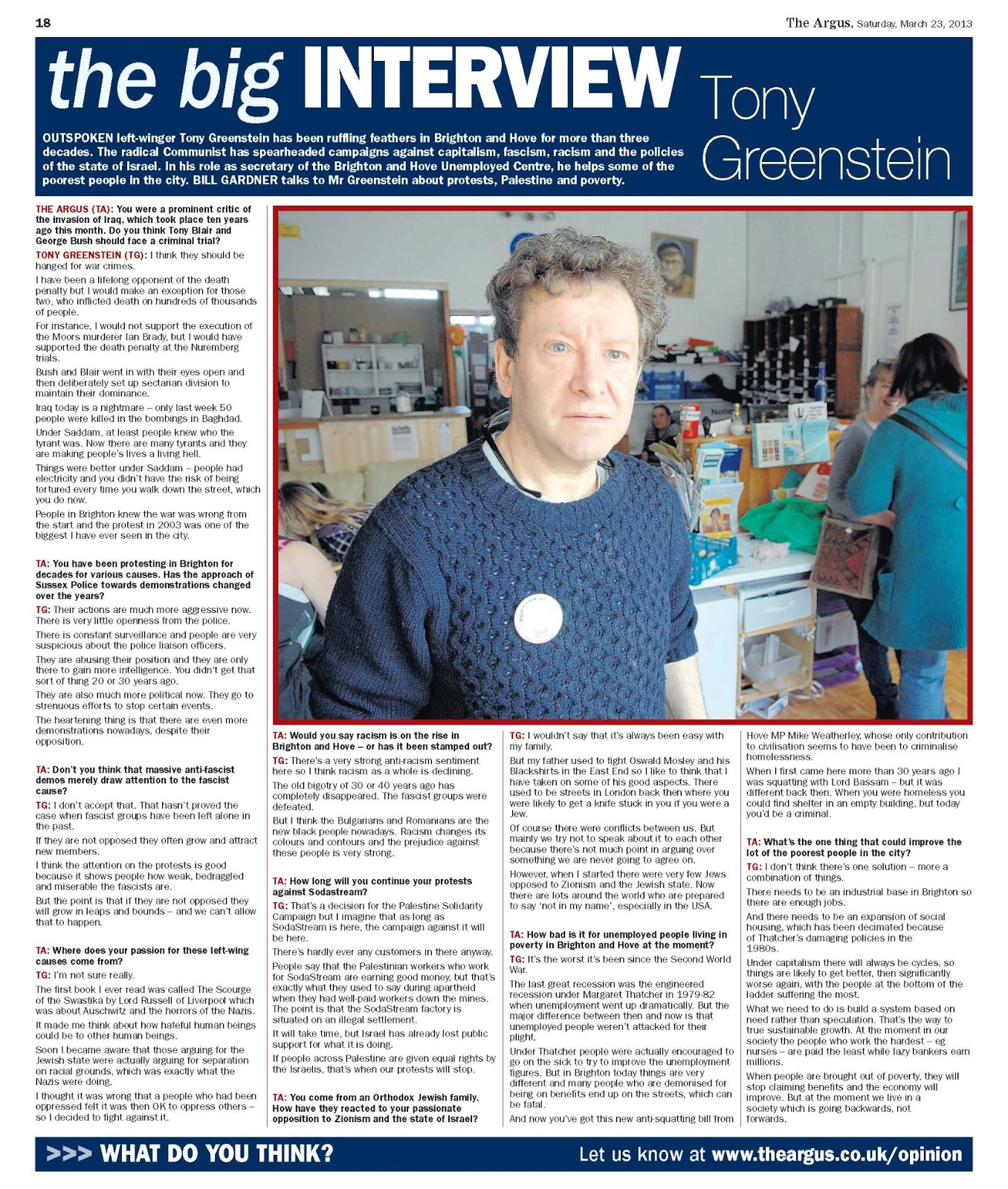 Tony Greenstein Blog: Tony Greenstein's Blog: The Big Interview With Tony