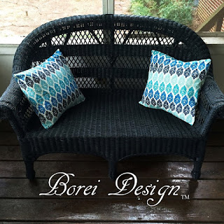 One year of craft tutorials.Painting old wicker furniture using Charleston Green and how to make outdoor pillows using cheap tablecloths