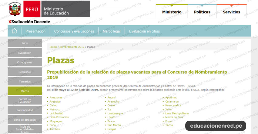 MINEDU publicó Plazas Nombramiento Docente 2019 [PREPUBLICACIÓN 7 MAYO] www.minedu.gob.pe