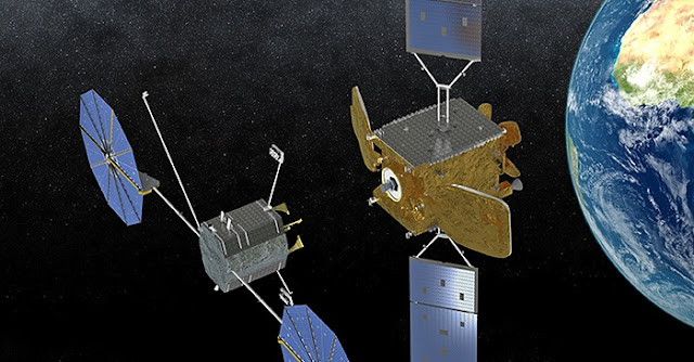 A ViviSat mission extension vehicle approaches a satellite in an artist's impression. Credit: Orbital ATK/ViviSat