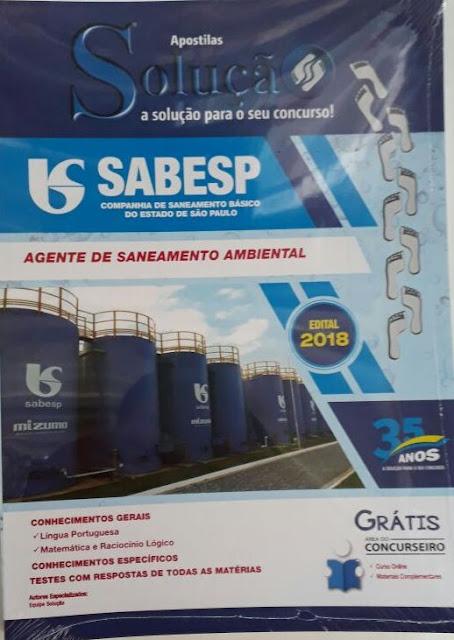 Sabesp- agente de saneamento ambiental, valor R$35,00