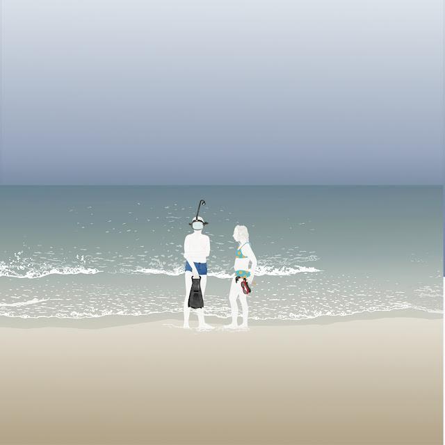 niños, playa, dibujo, gafas de buzo