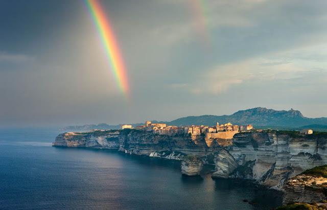 A rainbow over Bonifacio, Corsica, France.