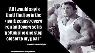 "Featured in the article Arnold Schwarzenegger Inspirational Quotes From Motivational Autobiography that include the best motivational quotes from Arnold: ""All I would say is that I find joy in the gym because every rep and every set is getting me one step closer to my goal."""