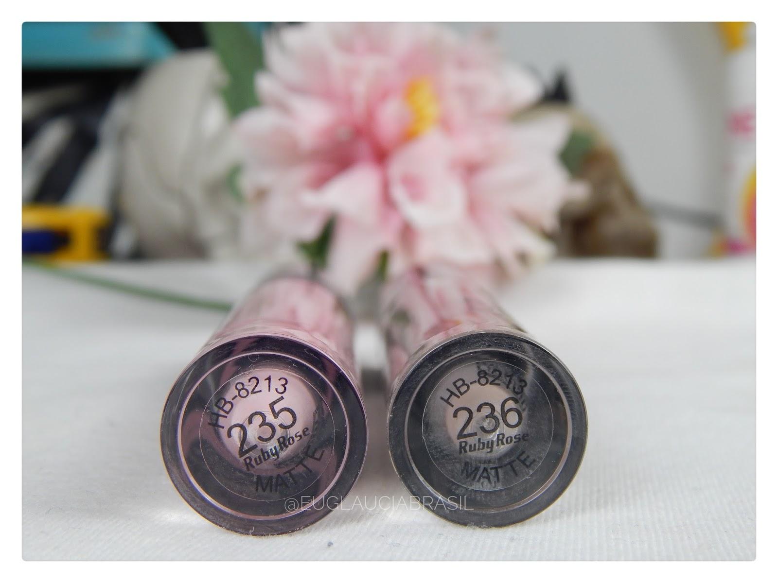 batom rosa 235 matte ruby rose, batom marrom acinzentado 236 matte ruby rose