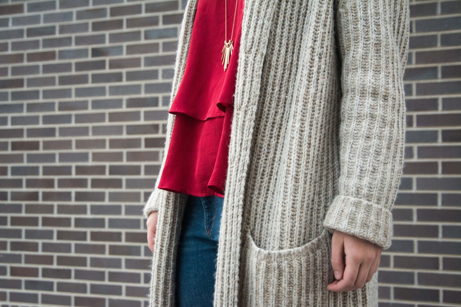 Chelsea's Glossary: Casual Maroon Tank & Oversized Sweater