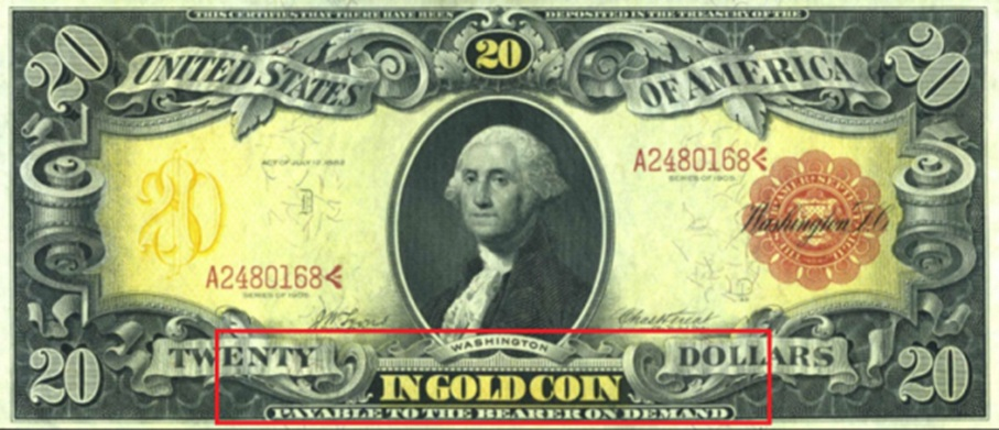 1905 – US20 Dollar Note backed by 1 Oz of Gold Coin