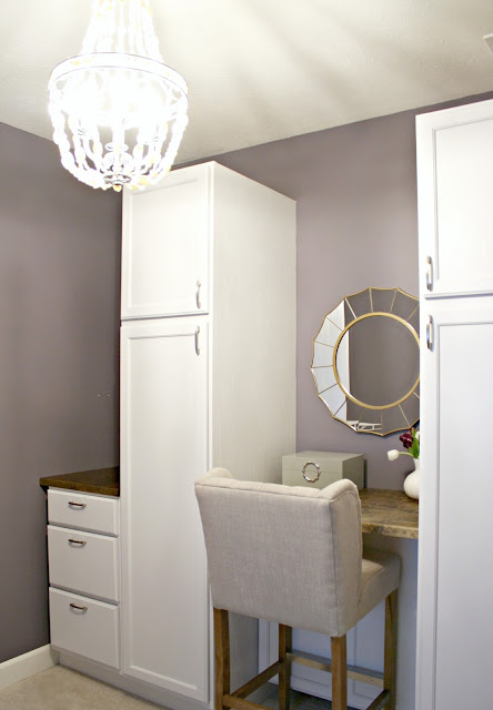 DIY closet makeover using kitchen cabinets