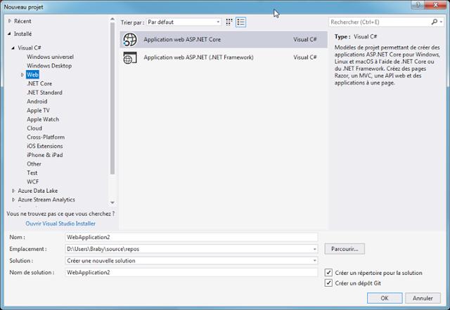 Visual Studio 2017 Community ASP.NET Core Templates